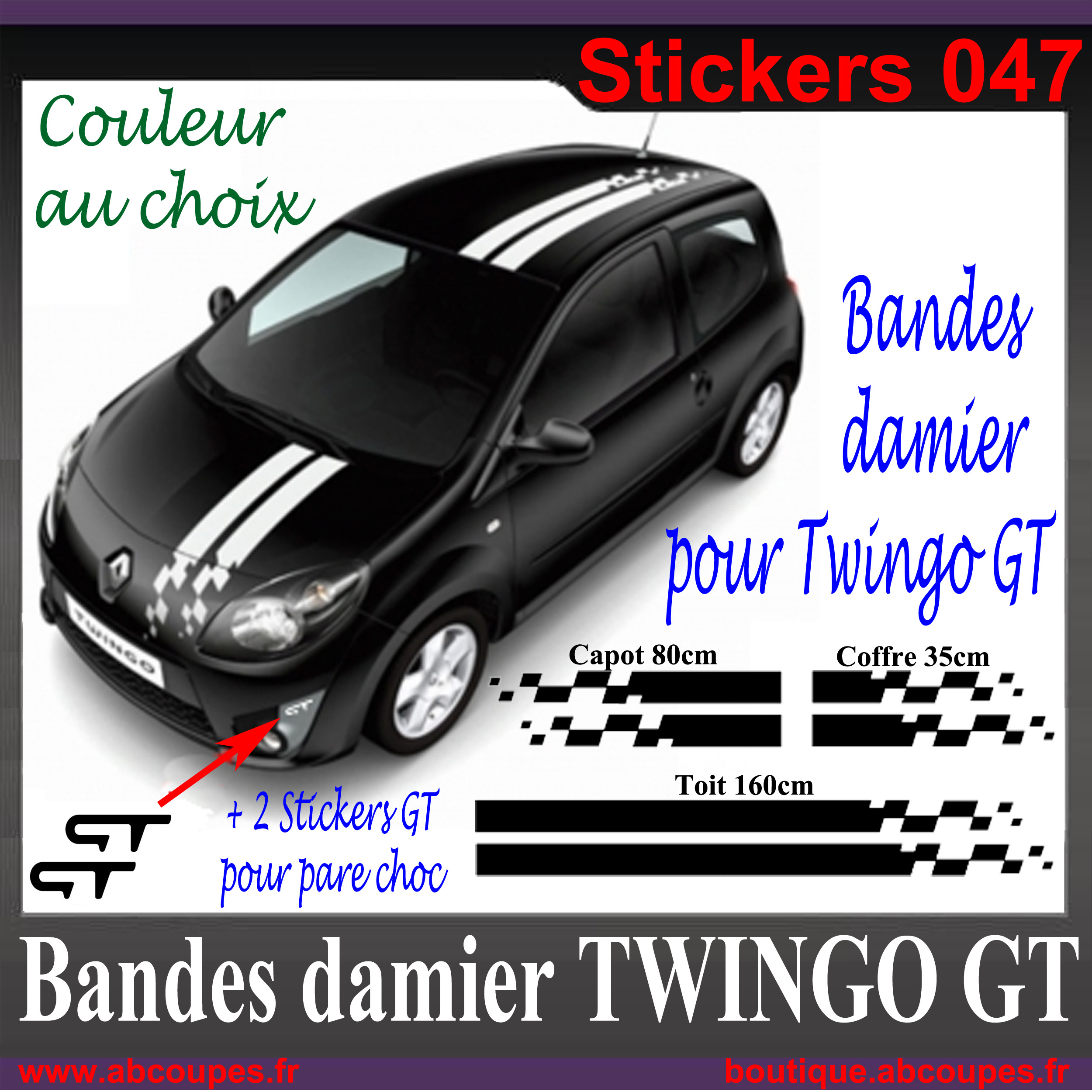 kit bandes damier pour twingo gt 2 stickers pare choc renault sport 047. Black Bedroom Furniture Sets. Home Design Ideas