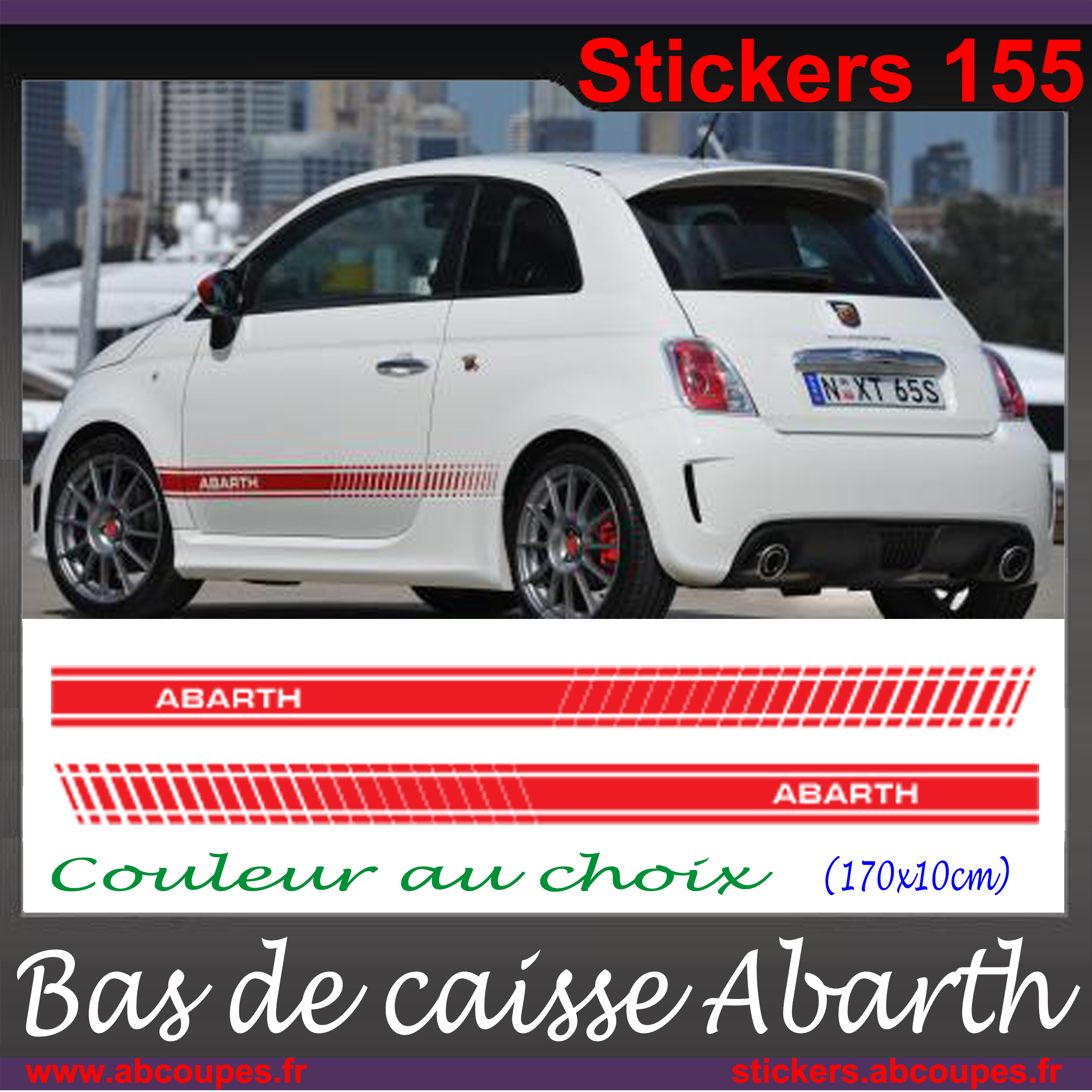 stickers autocollant bandes pour abarth fiat 500 l xl 155 ebay. Black Bedroom Furniture Sets. Home Design Ideas